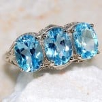 Aquamarine 925 Sterling Silver Victorian Ring