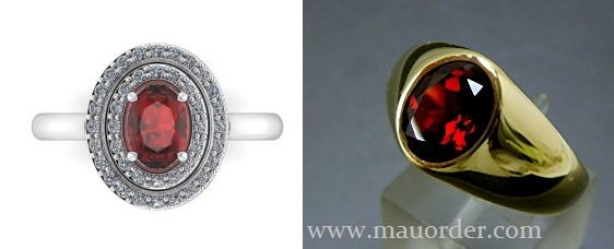 gambar cincin emas garnet asli