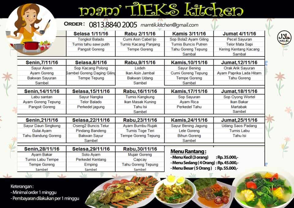 menu catering bintaro bulan november 2016