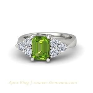 Cincin Emas Peridot untuk Wanita dengan berlian asli
