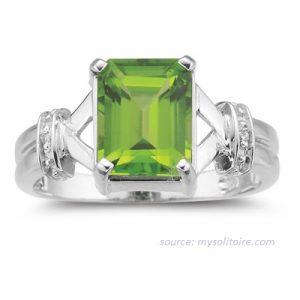 cincin emas peridot model solitaire untuk wanita