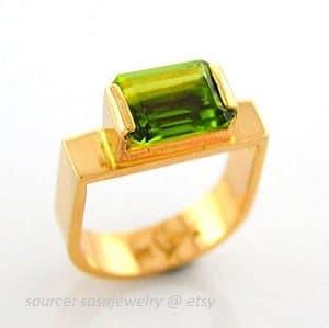 cincin fashion wanita batu peridot asli