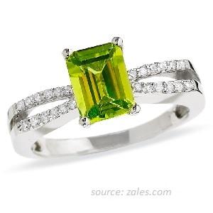 cincin nikah wanita batu peridot emas putih aksen berlian asli