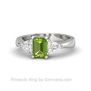cincin wanita emas putih peridot dan safir putih