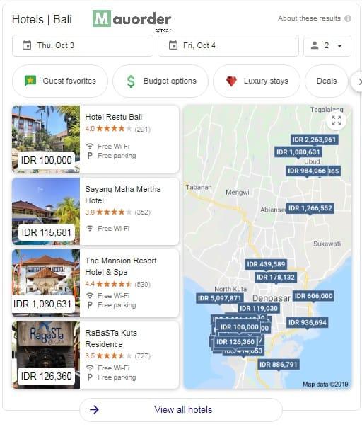 tampilan pencarian google untuk hotel