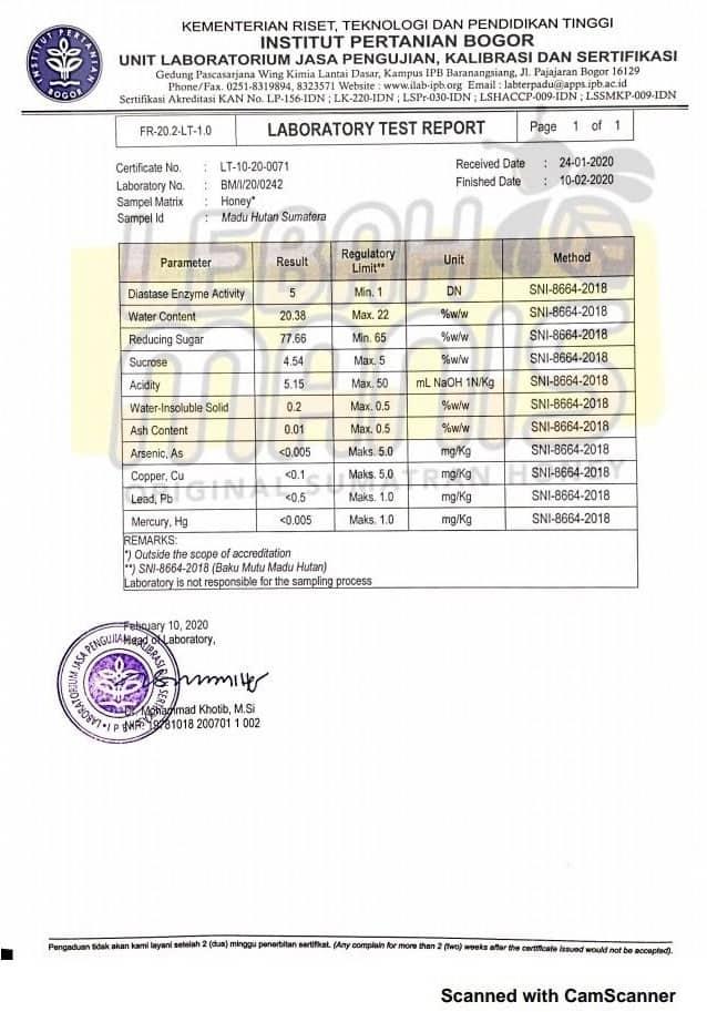 test lab madu hutan sumatera